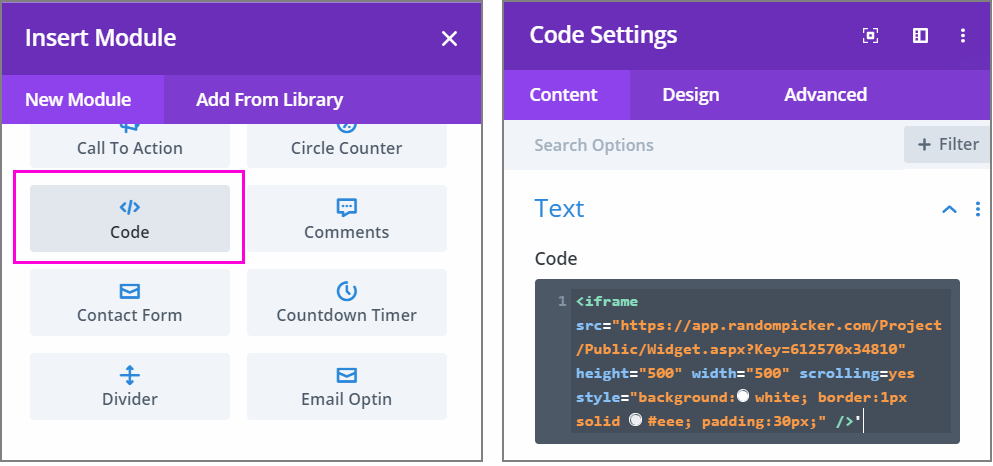 Add custom code with Divi builder